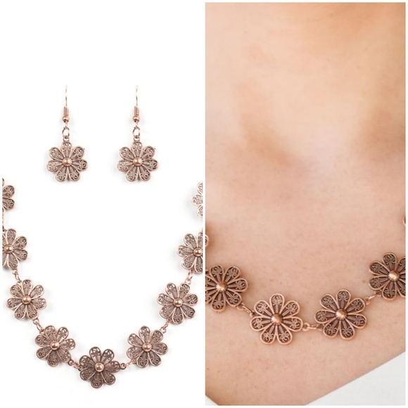 SPRING BEAUTY COPPER NECKLACE/EARRING SET